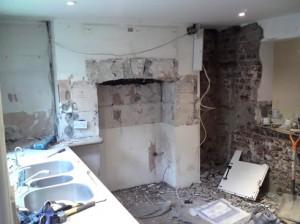 Basement plaster hacked off